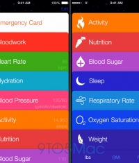 Скриншоты медицинского приложения Healthbook из iOS 8