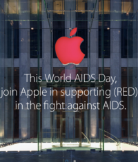 Логотип Apple стал красным в честь дня борьбы со СПИДом